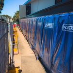 Acoustic curtains keep school students focused during construction