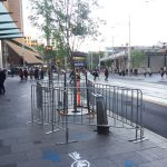 Temporary crowd control fencing panels in Sydney's CBD