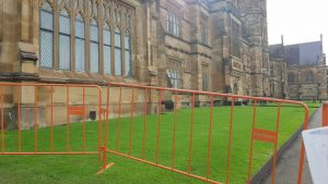 Temporary crowd control barriers spotted at Sydney University